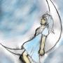Girl at the moon by Keron-Ekzecut