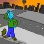 Blue Guy, waiting... by YourBuddyJake