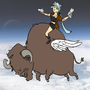 Sakura on a Flying Bison by Chickenlump