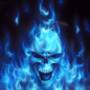 flaming blue skull by inusha1234