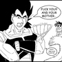 Raditz mouthing off at goku by Paradise-of-Darkness