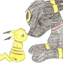 Umbreon and Pikachu by DarkwingWolf
