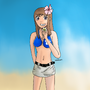 Hitomi on the beach by fire-fish