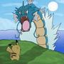 Pikachu vs Gyarados by RedRoc
