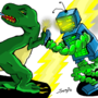 Robo Dino battle! by nonameavilable