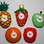Five Fruitclock Fridge Magnets by Luwano