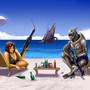SheppardxGarrus beach - comm by xIZRAx
