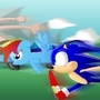Sonic, Rainbow Dash, and Bitey