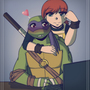 .:TMNT Donnie and April:. by DawnieMewMew