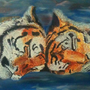 Oil Painting - Sleeping Tigers by joejamz99