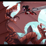 Shark Dragon Fight by LuxiferxLegion
