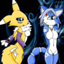 Renamon and Krystal :3 by DreamEclipseWolf