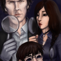 Sherlock, Julia and Conan by Milkytentacles