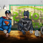 Batman & Superman Cafe Time by Blobmonster
