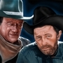 John Wayne and Robert Mitchum by capsbeats