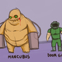 Mancubus and Doom Guy by Bowz