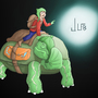 A man and a giant Turtle 2014 by 0JLFB0