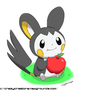 Pokemon - Emolga with an apple by CrazyCreators