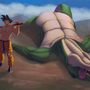 Goku 1 - dinosaur 0 by thevoodoogorilla