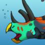 Triceratops Takes a Dip by BrandonP