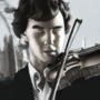 Sherlock with violin by yoker