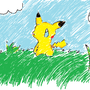 Pikachu in a field by Mistyride