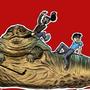 Two guys riding Jabba by Humblefumbler
