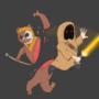 Jedi Jawa vs Zombie Ewok by Justown