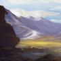 Mountain range concept art by Acrylla