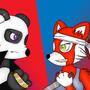 panda vs red panda by doodlebotART