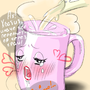 It actually feels a mug with boiling water by oshiaberi