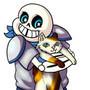 Underswap!Sans with a Kitty by RainbowDogma