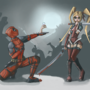 Harley loves Deadpool by MartsArt