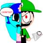 Me vs. Luigi (Evil Weegee) by Rosie1991