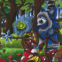Kid the Winter and Snowghule meets Wolpertinger in Spring by Ez86
