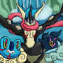 Froakie, Frogradier and Greninja by IsaacChamplain