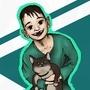 Me and cat Emi by Merosu