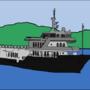 A ship in the ocean. by mikukene