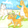 Persian and Dragonite wave their Dragonsian goodbye by anikavandermeulen