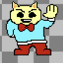 This is a cat with a hand raised, he may be a waiter cat