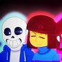 Glitchtale - Sans, Frisk, Betty, and Gaster by Annmariesch76