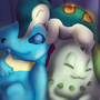 gen 2 starter pokemon by Littlepinkmonkey