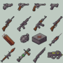 Modern Weaponry Icon Set