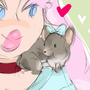 Pip and her pet chinchilla  by PersonaYami