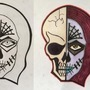 Half skull and half day of the dead face by Kouta99