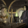 Gandalf and Snape in potion class by Sekyria