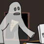 Ghost eating a pizza slice [gif] by Jombloxx1
