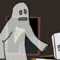 Ghost eating a pizza slice [gif]