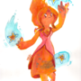 Flame Princess Watercolor by maruki