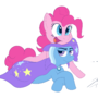 Pinkie Pie and Trixie by SlapHappyDrew